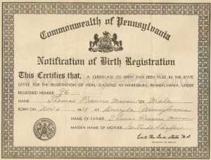 Sample PA 1938 Birth Certificate