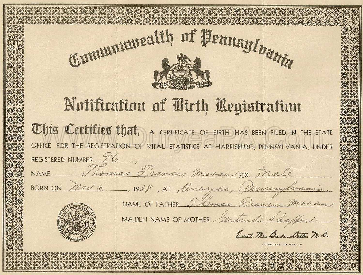 1893 1906 Birth Index For Chester County Pennsylvania Pennsylvania
