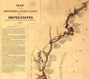 Map of the Discovery of the U.S. Coast And Geodetic Survey