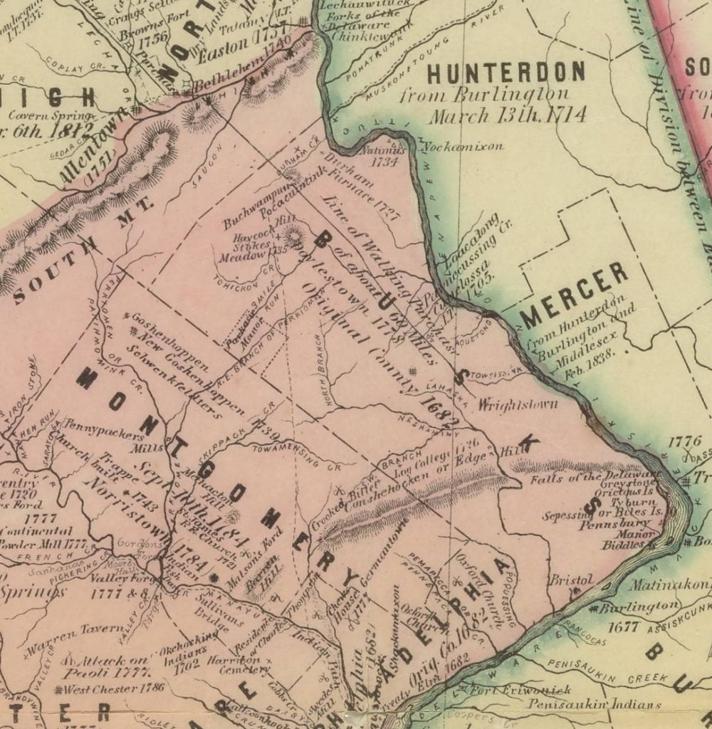 "Applebachsville, Pennsylvania, is marked as ""Stokes Meadow"" on this map insert printed in 1875."