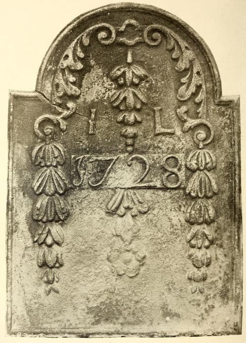 1728 fireback at Stenton the residence of James Logan. Made at Durham Furnace.