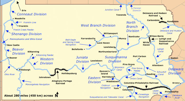 Map of Pennsylvania showing the Pennsylvania Canal divisions, including that of the Delaware Division in Bucks County