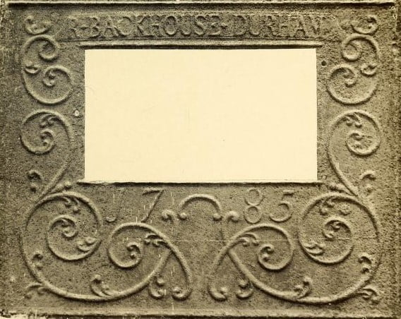 Stoveplate door, 1785, Durham Furnace. Owned by Mrs. Arthur Maginnis. Swiftwater.